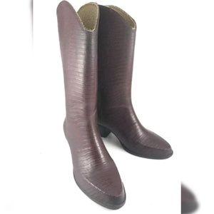 Andrew Geller Ruber Rain Boots Brown Linen Brown 9